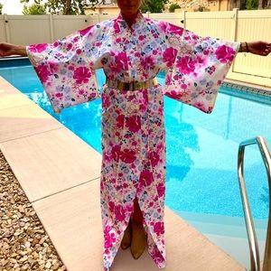 Cotton Kimono Extra Long in Pinks, Blues, Yellow